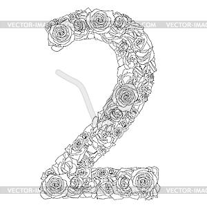 Blumen-Alphabet aus roten Rosen, Zeichen 2 - vektorisiertes Clip-Art