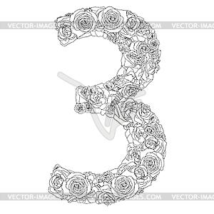 Blumen-Alphabet aus roten Rosen, Zeichen 3 - vektorisiertes Design