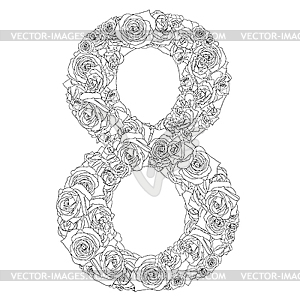 Blumen-Alphabet aus roten Rosen, Zeichen 8 - Stock Vektorgrafik