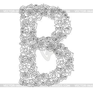 Blumen-Alphabet aus roten Rosen, Zeichen B - Clipart-Bild