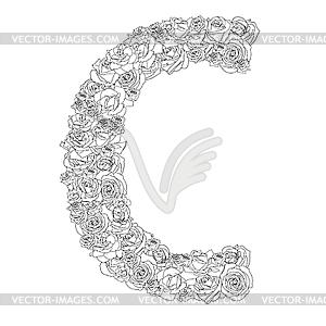 Blumen-Alphabet aus roten Rosen, Zeichen C - Vektor-Skizze