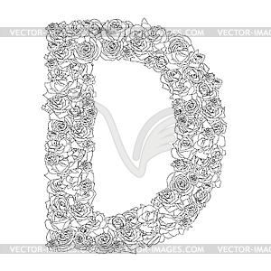 Blumen-Alphabet aus roten Rosen, Zeichen D - Royalty-Free Vektor-Clipart