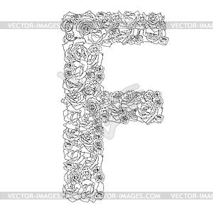 Blumen-Alphabet aus roten Rosen, Zeichen F - Vektor-Clipart