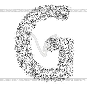 Blumen-Alphabet aus roten Rosen, Zeichen G - Vektor-Design
