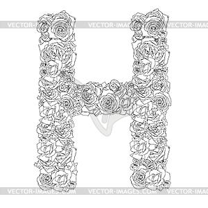Blumen-Alphabet aus roten Rosen, Zeichen H - Vector-Bild