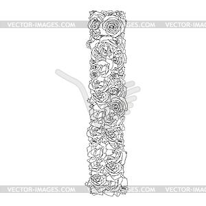 Blumen-Alphabet aus roten Rosen, Zeichen I - Vektorgrafik