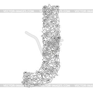 Blumen-Alphabet aus roten Rosen, Zeichen J - Vector-Clipart EPS