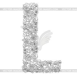 Blumen-Alphabet aus roten Rosen, Zeichen L - Vektor Clip Art