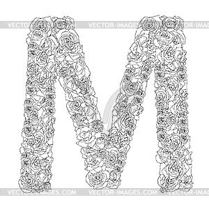 Blumen-Alphabet aus roten Rosen, Zeichen M - Vektor-Illustration