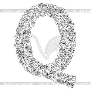 Blumen-Alphabet aus roten Rosen, Zeichen Q - Vektor-Klipart