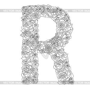 Blumen-Alphabet aus roten Rosen, Zeichen R - Vector Clip Art