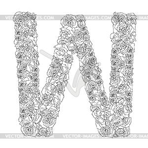 Blumen-Alphabet aus roten Rosen, Zeichen W - Vektor-Abbildung