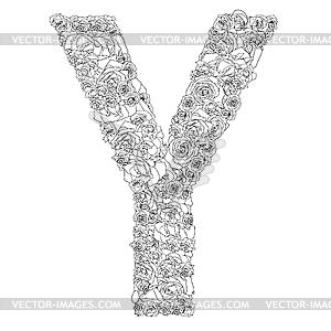 Blumen-Alphabet aus roten Rosen, Zeichen Y - vektorisiertes Clipart