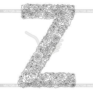 Blumen-Alphabet aus roten Rosen, Zeichen Z - vektorisiertes Bild