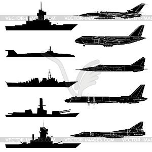 Eine Reihe von militärischen Flugzeugen, Schiffen und U-Boote. - Royalty-Free Clipart