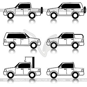 Set von Icons - Transport Symbole. Black. Ca - Vektor-Skizze