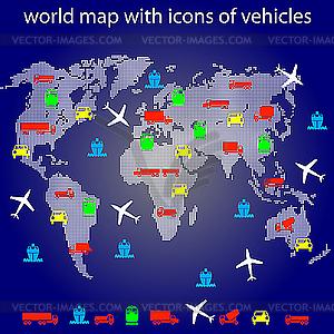Weltkarte mit Ikonen der Transport auf Reisen. - vektorisiertes Design