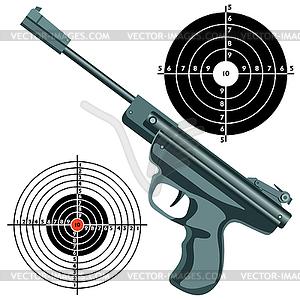 Waffe, Pistole gegen Ziel - Vector-Clipart / Vektorgrafik