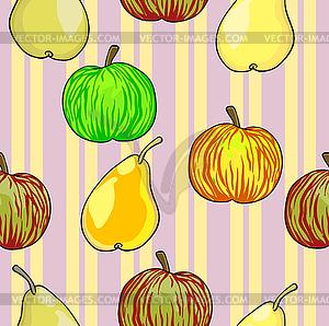 Nahtlose Muster Obst Äpfel und Birnen - Vektor-Clipart EPS