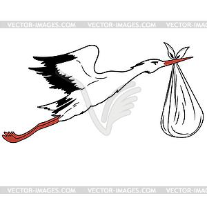 Weißstorch im Flug liefert Neugeborenen - Royalty-Free Clipart