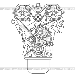 Verbrennungsmotor - Vektor-Clipart EPS