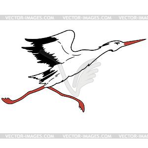 Weißstorch im Flug. - Vector-Clipart / Vektor-Bild