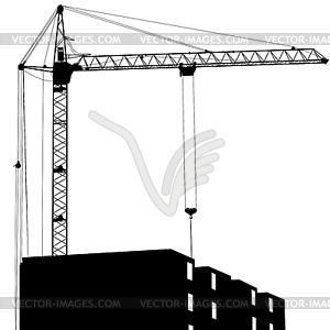 Silhouetten - Baukran und Gebaude - Clipart-Design