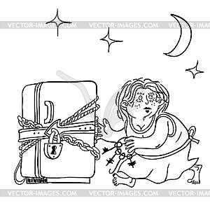 Kühlschrank mit kette und schloß diät symbol vector clipart