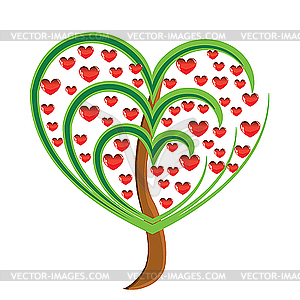 Apple tree with red fruits in the form of heart - vector clipart