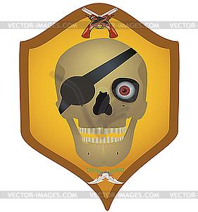 Schädel mit den gekreuzten Pistolen und Klinken - vektorisierte Grafik