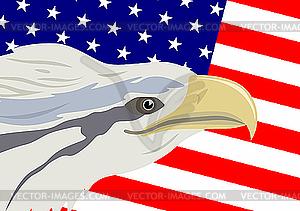 Adler und amerikanische Flagge - Vektorgrafik