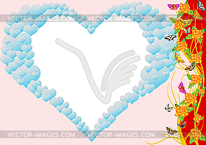 Herz, Blumen und Schmetterlinge - Vector-Clipart EPS