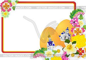 Osterkarte mit Eiern und Blumen - farbige Vektorgrafik