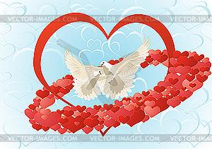 Liebe und Tauben - Vektor-Clipart / Vektor-Bild