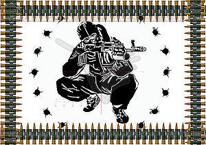 Maschinengewehr-Gürtel und Scharfschütze mit einem Gewehr - Vektor-Klipart