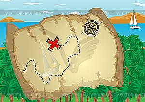 Map of Treasure Island - vector image