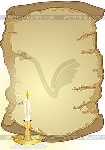 Altes Pergament und Kerze - Vector-Clipart