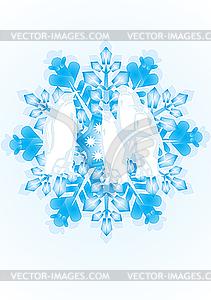Pinguine auf der Schneeflocke - Vektor-Klipart