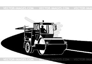 Straßenbaumaschine an der Straße - Stock-Clipart