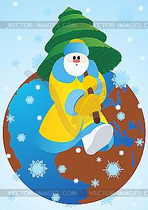 Santa Claus mit Weihnachtsbaum - Clipart-Design