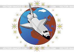 Raumschiff - farbige Vektorgrafik