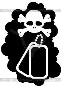 Medaillon des Soldaten - schwarzweiße Vektorgrafik
