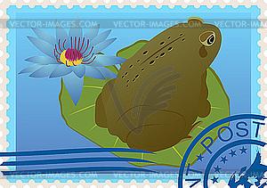 Briefmarke mit einem Frosch - vektorisiertes Bild