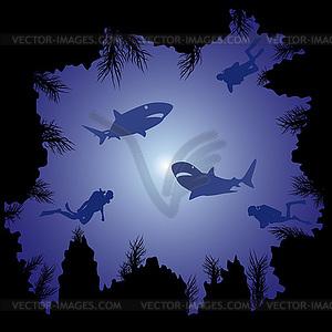 Sharks und Taucher im Ozean - Clipart-Bild