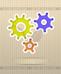 Gears Postkarte - Royalty-Free Vektor-Clipart