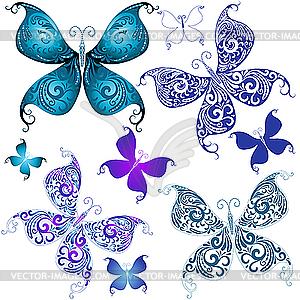Set von Vintage-Schmetterlingen - Stock Vektorgrafik