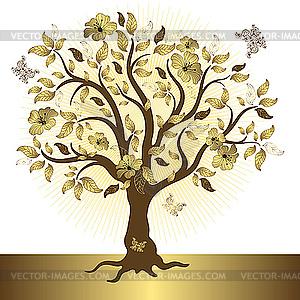 Goldner Baum - Stock Vektorgrafik