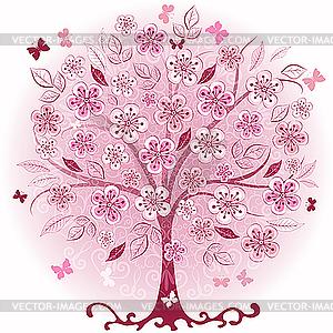 Rosa dekorativer Frühlings-Baum - Vector-Clipart / Vektor-Bild