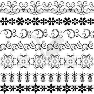 Schwarze dekorative Bordüren - Vektor-Clipart / Vektor-Bild