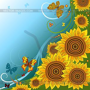 Frühlings-Hintergrund mit Sonnenblumen - Vektorgrafik-Design